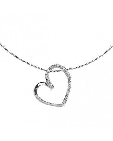 collier coeur oxyde rhodié