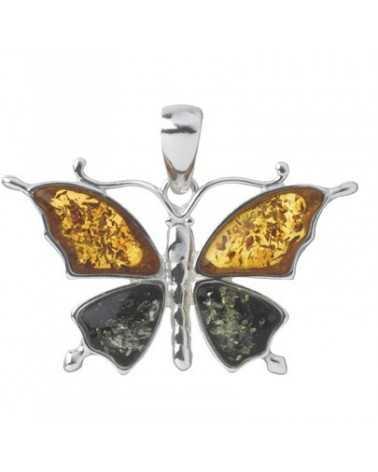 pendentif ambre papillon