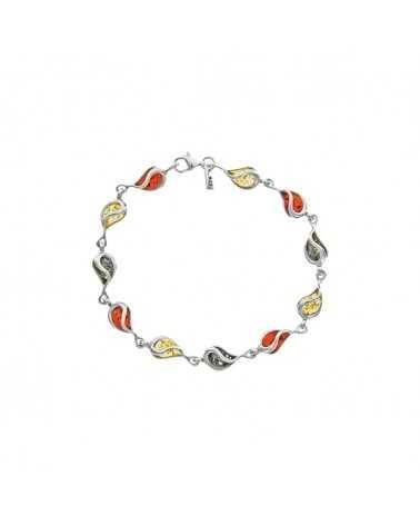 bracelet argent ambre tricolore