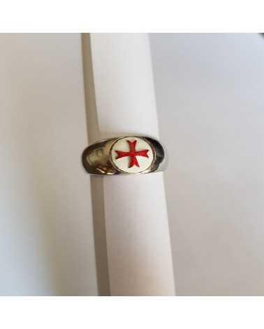 chevalière templière croix rouge argent