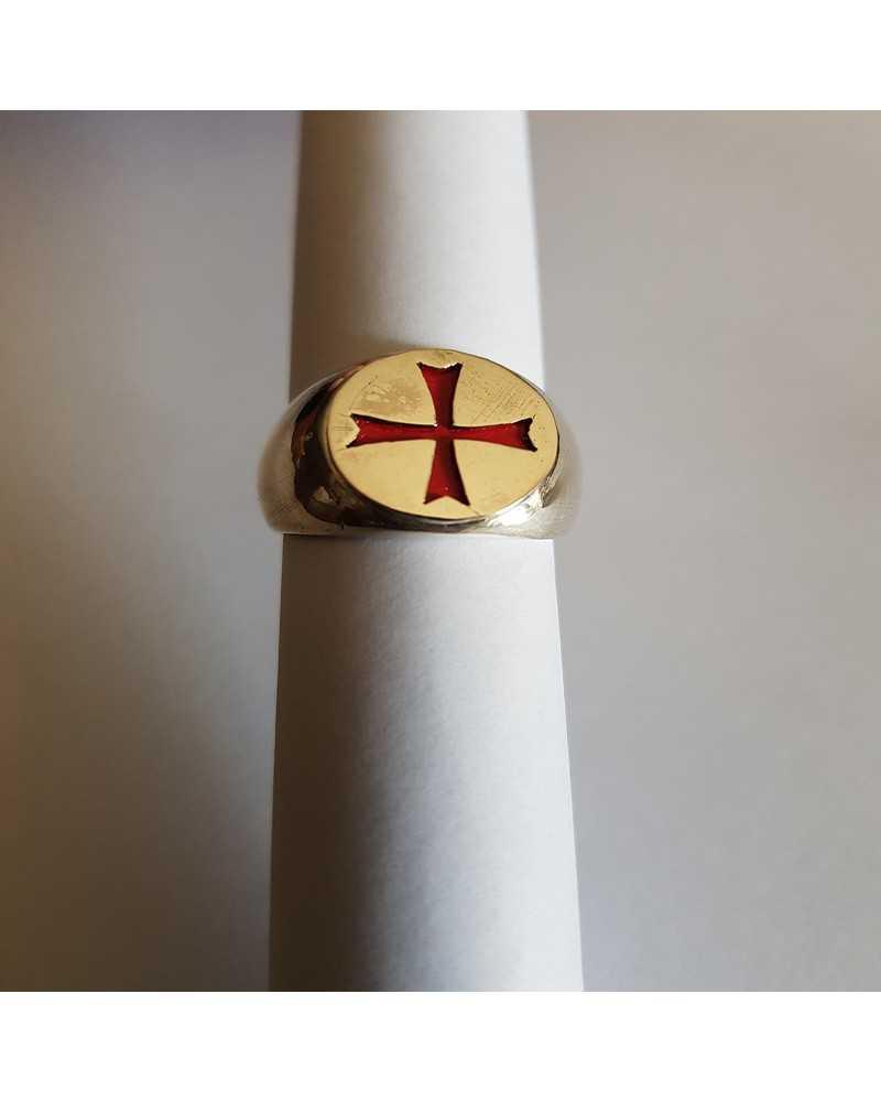 bague templier argent croix rouge